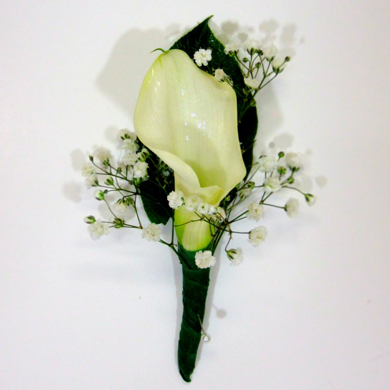 White Mini Calla Bout with black wrapped stem