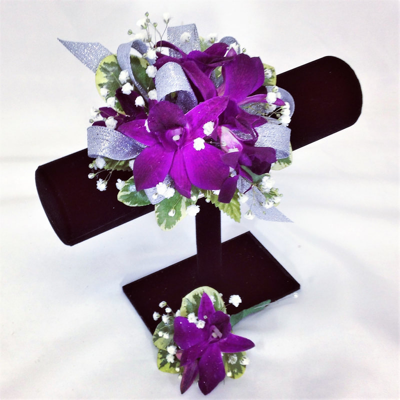 Purple Orchid Wrist corsage & Bout with silver ribbon