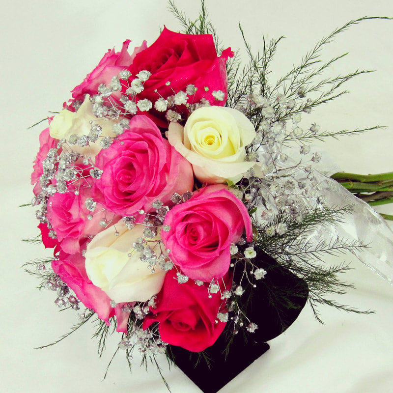 Pink and White Rose Nosegay with Silver Babies Breath
