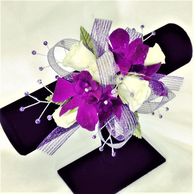 White Rose & Purple Orchid Wrist Corsage