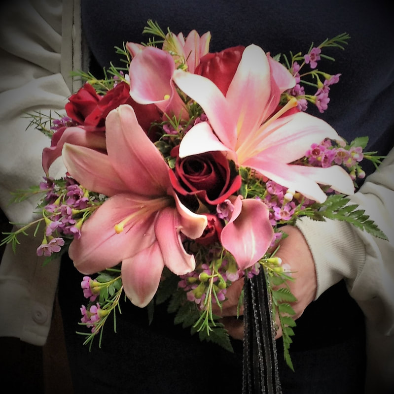 Pink Lily & Red Rose Bouquet