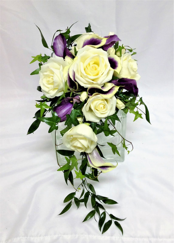Cascading Purple & White Bridal Bouquet