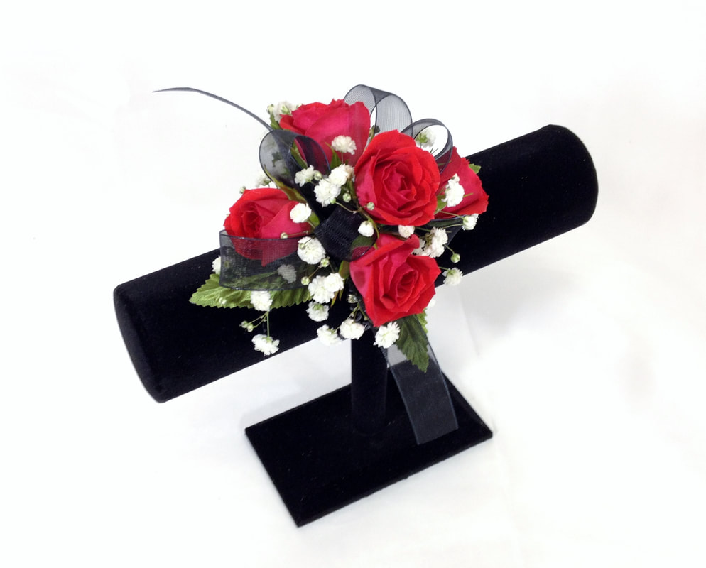 Red Rose with Black Ribbon Corsage