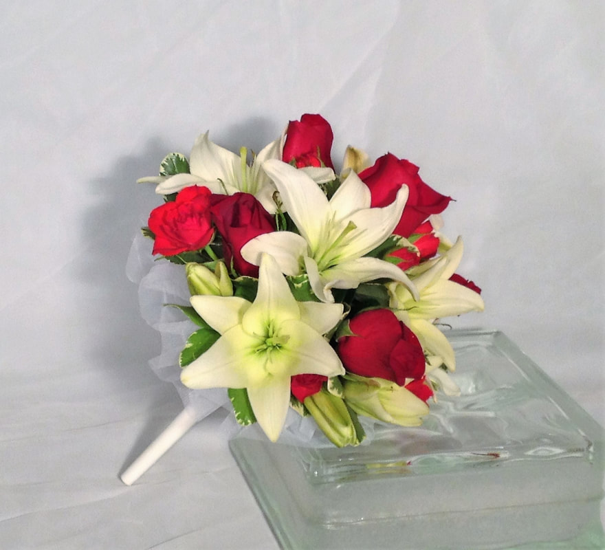 Rose & Lily Bouquet in Holder