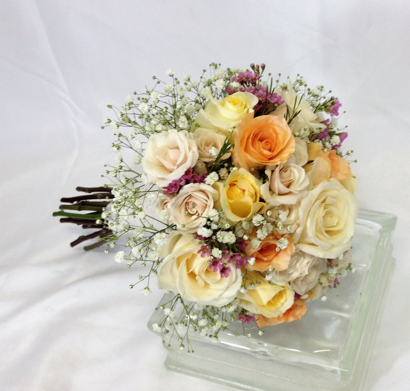 Cream Peach and Pink Rose Bouquet