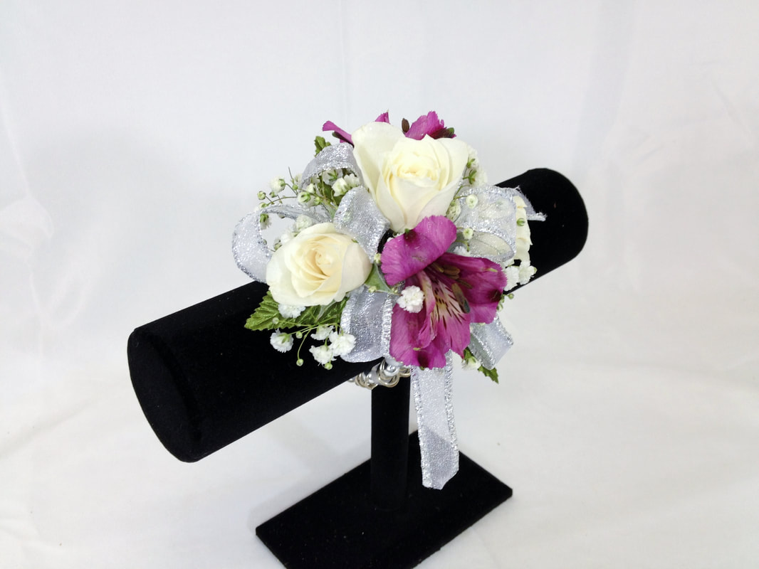 White Rose & Puple Alstro Corsage