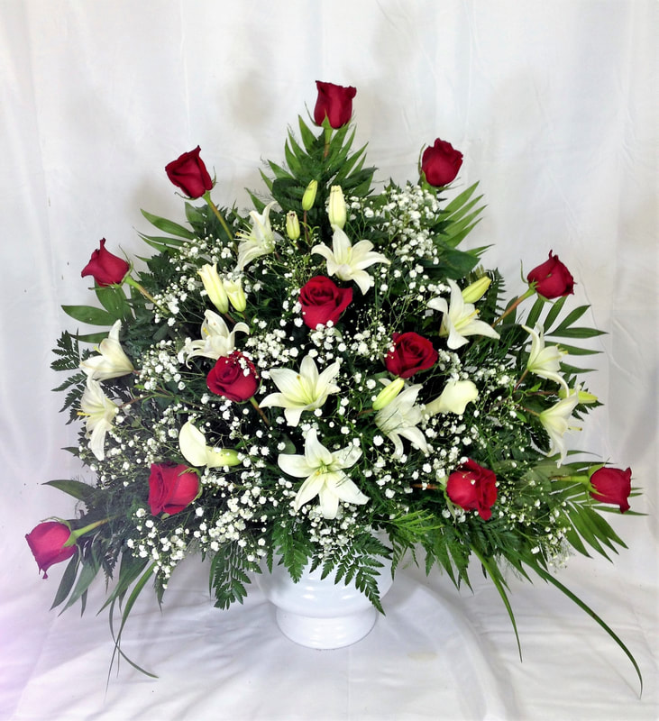 Red Rose & White Lily Alter Arrangement