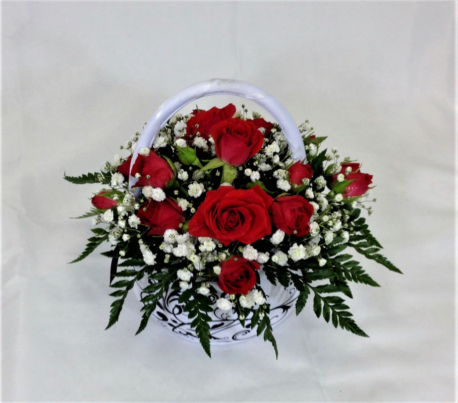 Red Spray Rose Flower Girl Basket