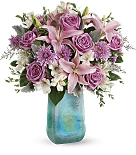 Teleflora's Art Glass Treasure Bouquet - Deluxe