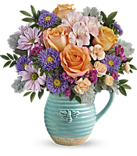 Teleflora's Busy Bee Pitcher Bouquet - Deluxe