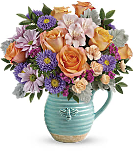 Teleflora's Busy Bee Pitcher Bouquet - Premium