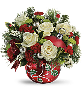 Teleflora's Classic Holly Ornament Bouquet - Deluxe