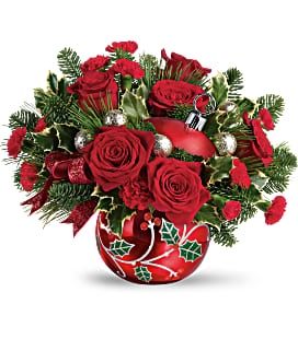 Teleflora's Deck The Holly Ornament Bouquet - Deluxe