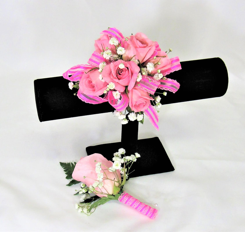 Light Pink Rose Corsage and matching Bout