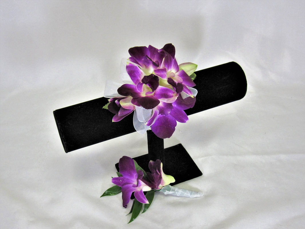 Purple Orchid Corsage and Boutonniere