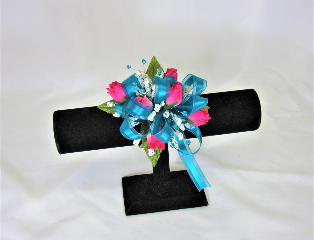 Prom gallery gracis flowers gifts hot pink rose wristlet with teal bow mightylinksfo