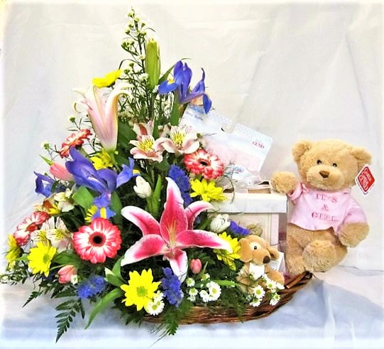 Baby arrangement with gift items