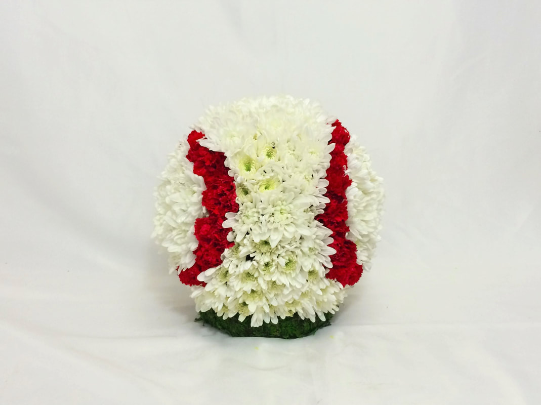 Sympathy gallery gracis flowers gifts this 360 degree baseball is made of white mums with red mini carnations for stitching and sits atop a grassy base for the funeral of a baseball izmirmasajfo