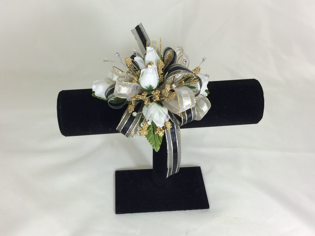 White rose corsage with silver & gold accents