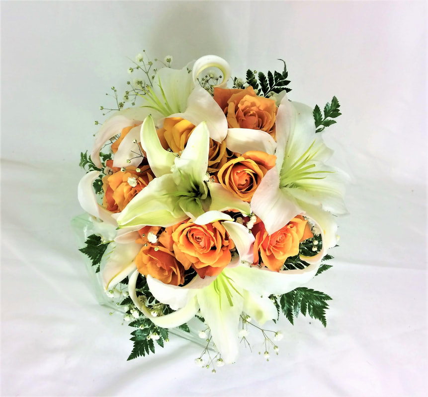 White Lily & Cherry Brandy Rose Bouquet