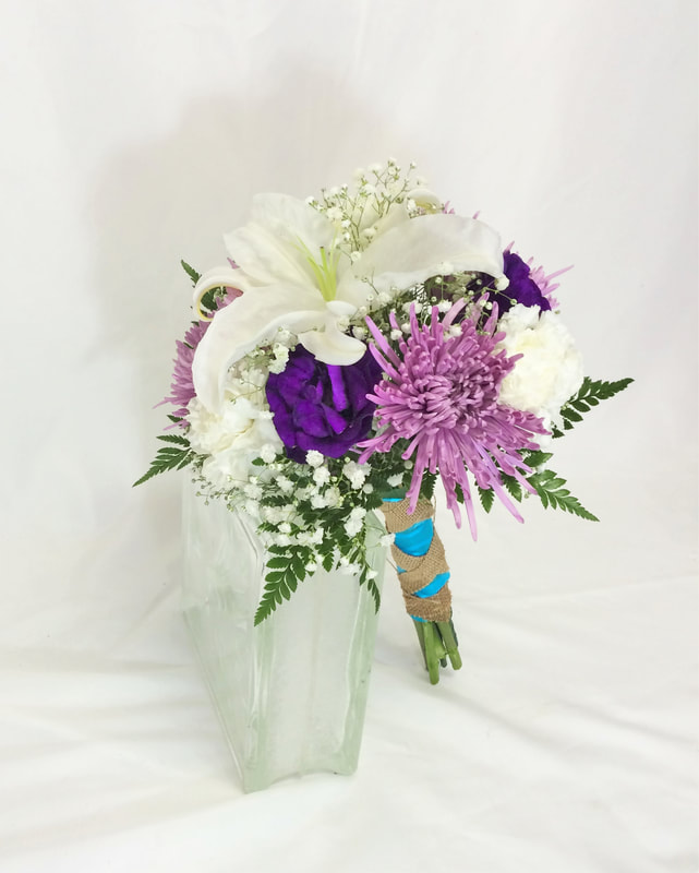 White Lily & Purple Lissy Bridesmaids Bouquet
