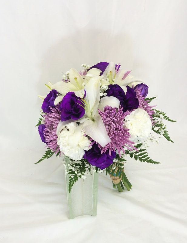 White lilies and Purple Lissy Bouquet