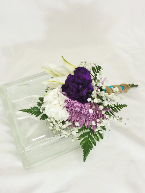 Purple lissy & White Lily Throw Bouquet