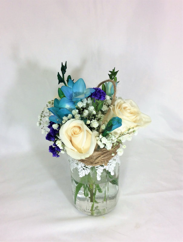 White Rose & Freesia Mason Jar