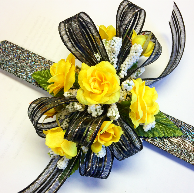 Yellow rose wrist corsage with black & silver bow
