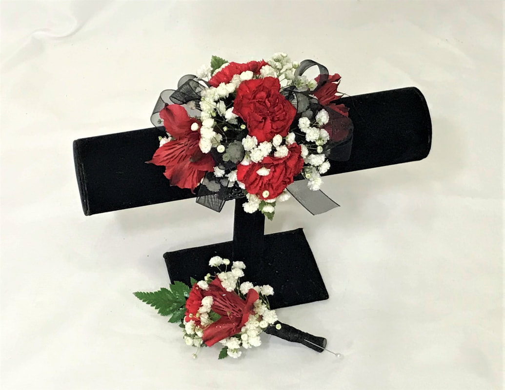 Red Mini Carn & Alstro Corsage and Bout