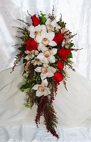 Orchid and Rose Cascading Bouquet