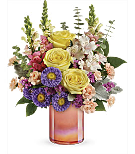 Teleflora's Peach Shimmer Bouquet - Deluxe
