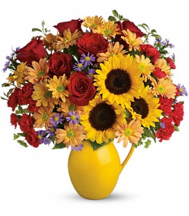 Teleflora's Sunny Day Pitcher of Joy - Deluxe