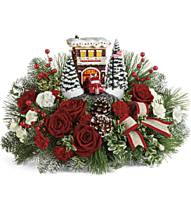 Thomas Kinkade's Festive Fire Station Bouquet - Deluxe
