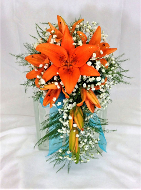Orange Lily Bridesmaids Bouquet